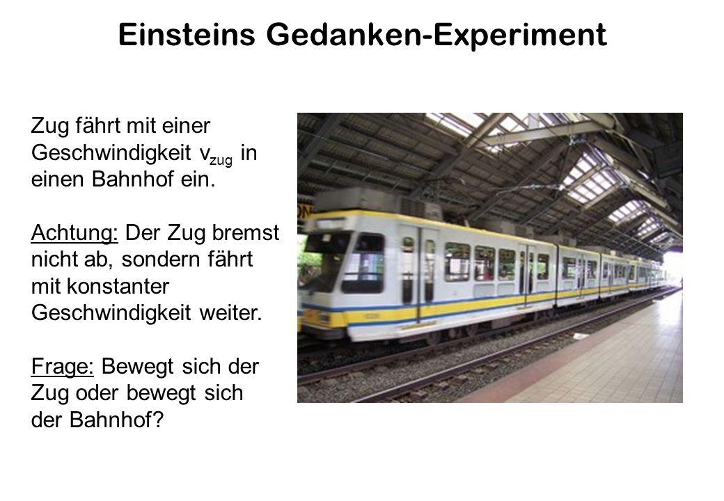 Einsteins Gedanken-Experiment Zug fährt mit einer Geschwindigkeit v zug in einen Bahnhof ein.