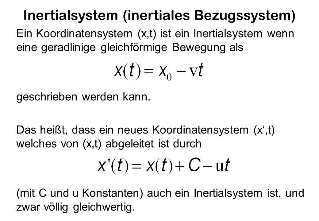 Inertialsystem (inertiales Bezugssystem) Ein Koordinatensystem (x,t) ist ein Inertialsystem wenn eine geradlinige gleichförmige Bewegung als geschrieben werden kann.