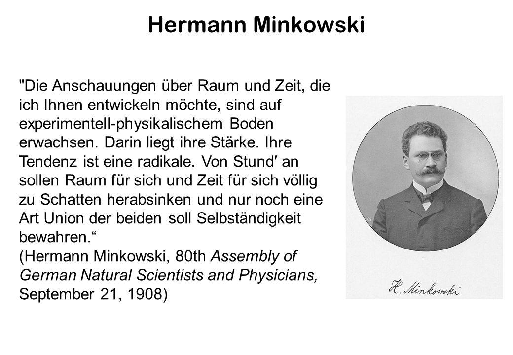 Hermann Minkowski Die Anschauungen über Raum und Zeit, die ich Ihnen entwickeln möchte, sind auf experimentell-physikalischem Boden erwachsen.