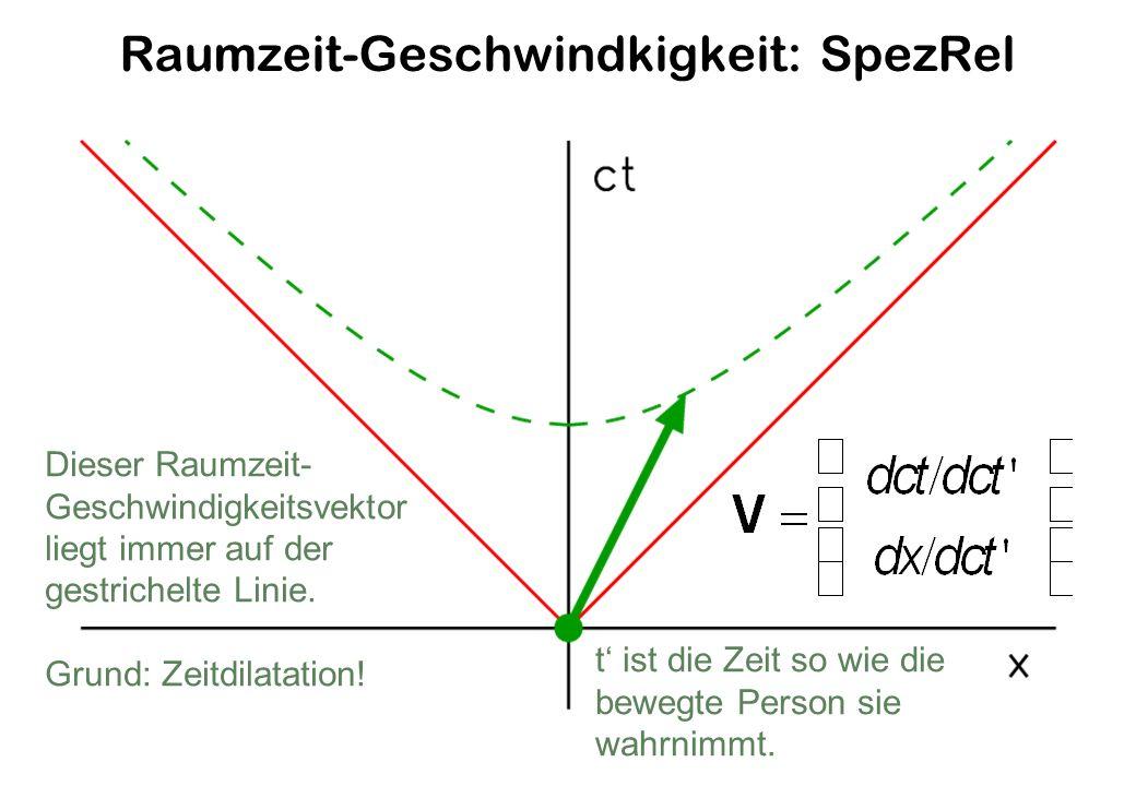 Raumzeit-Geschwindkigkeit: SpezRel Dieser Raumzeit- Geschwindigkeitsvektor liegt immer auf der gestrichelte Linie.