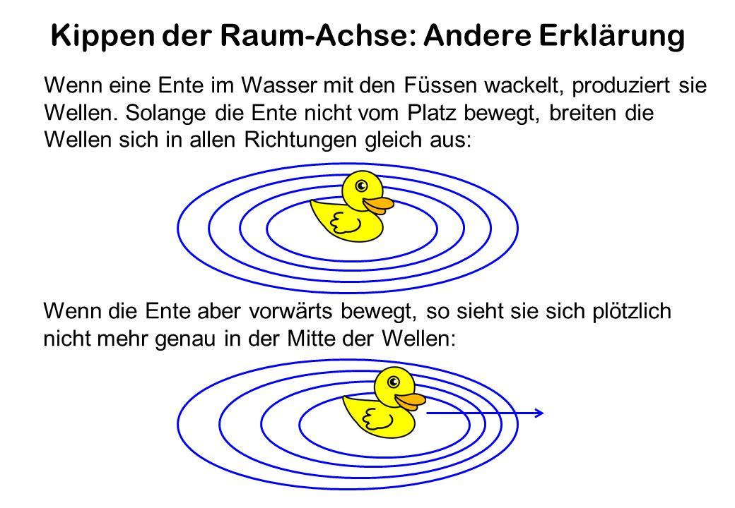 Kippen der Raum-Achse: Andere Erklärung Wenn eine Ente im Wasser mit den Füssen wackelt, produziert sie Wellen.