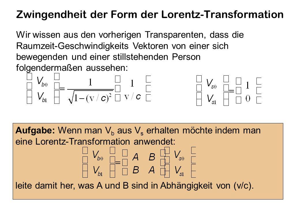 Zwingendheit der Form der Lorentz-Transformation Wir wissen aus den vorherigen Transparenten, dass die Raumzeit-Geschwindigkeits Vektoren von einer sich bewegenden und einer stillstehenden Person folgendermaßen aussehen: Aufgabe: Wenn man V b aus V s erhalten möchte indem man eine Lorentz-Transformation anwendet: leite damit her, was A und B sind in Abhängigkeit von (v/c).