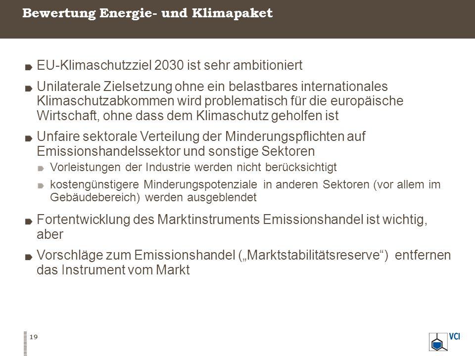 Bewertung Energie- und Klimapaket 19 EU-Klimaschutzziel 2030 ist sehr ambitioniert Unilaterale Zielsetzung ohne ein belastbares internationales Klimas