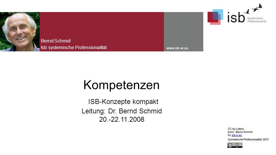 CC-by-Lizenz, Autor: Bernd Schmid für isb-w.euisb-w.eu Systemische Professionalität 2013 www.isb-w.eu Kompetenzen ISB-Konzepte kompakt Leitung: Dr.