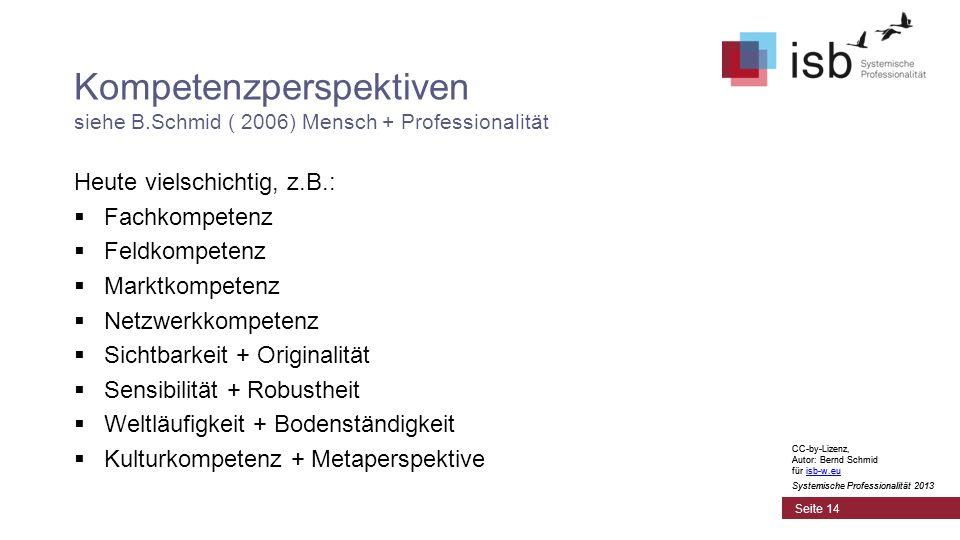 CC-by-Lizenz, Autor: Bernd Schmid für isb-w.euisb-w.eu Systemische Professionalität 2013 Seite 14 Kompetenzperspektiven siehe B.Schmid ( 2006) Mensch + Professionalität Heute vielschichtig, z.B.: Fachkompetenz Feldkompetenz Marktkompetenz Netzwerkkompetenz Sichtbarkeit + Originalität Sensibilität + Robustheit Weltläufigkeit + Bodenständigkeit Kulturkompetenz + Metaperspektive CC-by-Lizenz, Autor: Bernd Schmid für isb-w.euisb-w.eu Systemische Professionalität 2013