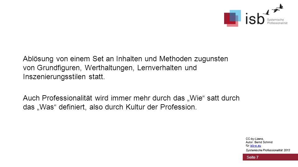CC-by-Lizenz, Autor: Bernd Schmid für isb-w.euisb-w.eu Systemische Professionalität 2013 Seite 8 Kein fertiges Berufsverständnis einverleiben, sondern ein persönlich-professionelles Profil im Rahmen einer professionellen Gemeinschaft erwerben.