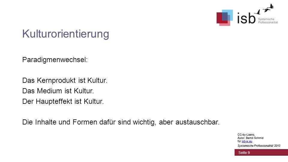 CC-by-Lizenz, Autor: Bernd Schmid für isb-w.euisb-w.eu Systemische Professionalität 2013 Seite 9 Kulturorientierung CC-by-Lizenz, Autor: Bernd Schmid für isb-w.euisb-w.eu Systemische Professionalität 2013 Paradigmenwechsel: Das Kernprodukt ist Kultur.
