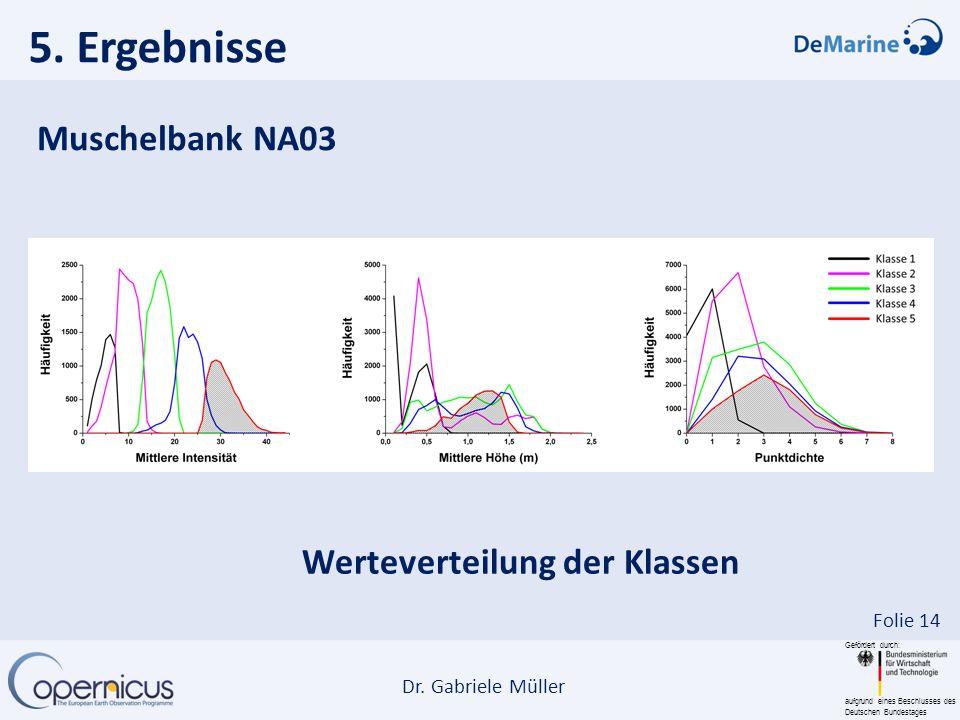 Gefördert durch: aufgrund eines Beschlusses des Deutschen Bundestages Dr. Gabriele Müller Folie 14 Muschelbank NA03 Werteverteilung der Klassen 5. Erg