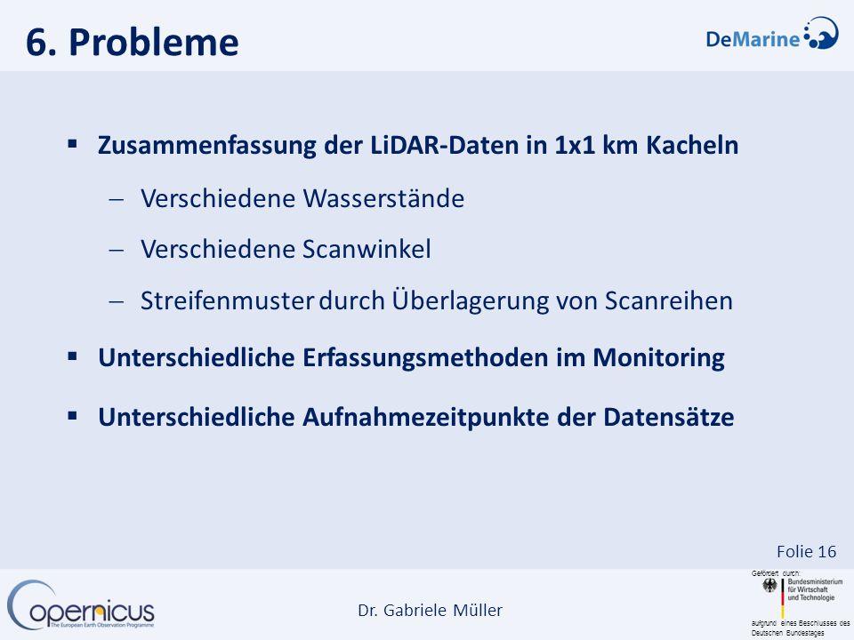 Gefördert durch: aufgrund eines Beschlusses des Deutschen Bundestages Dr. Gabriele Müller Folie 16 Zusammenfassung der LiDAR-Daten in 1x1 km Kacheln V