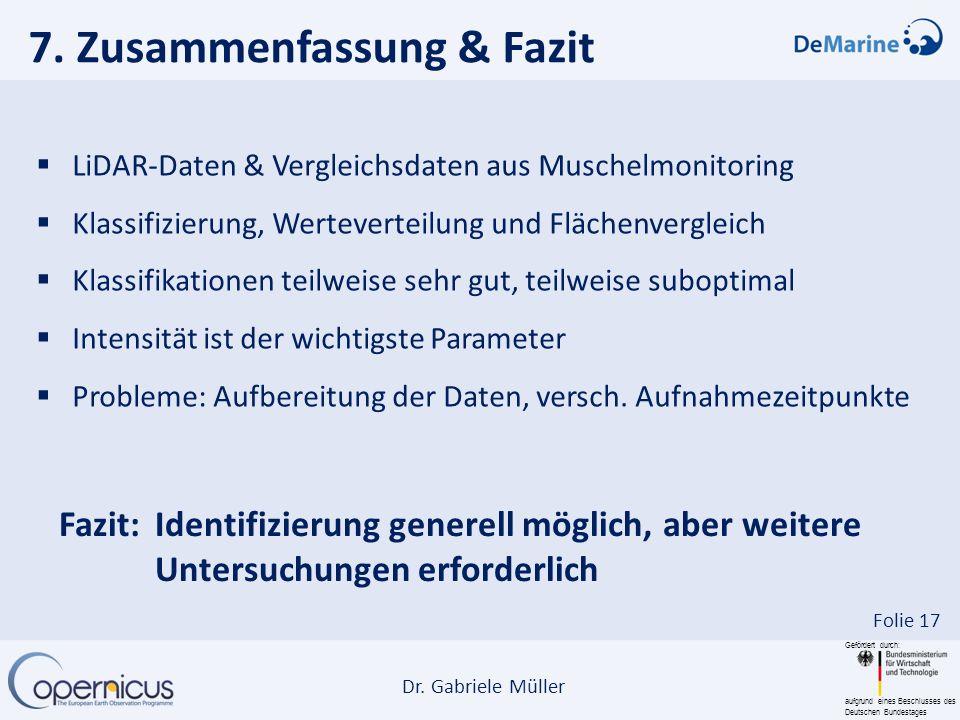 Gefördert durch: aufgrund eines Beschlusses des Deutschen Bundestages Dr. Gabriele Müller Folie 17 7. Zusammenfassung & Fazit LiDAR-Daten & Vergleichs