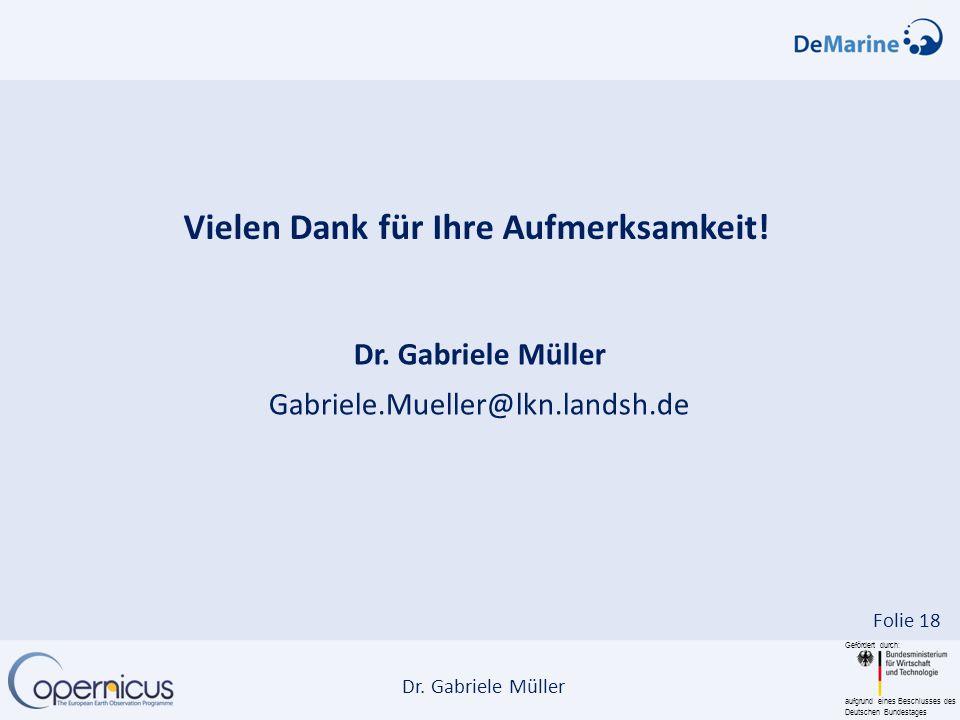 Gefördert durch: aufgrund eines Beschlusses des Deutschen Bundestages Dr. Gabriele Müller Folie 18 Vielen Dank für Ihre Aufmerksamkeit! Dr. Gabriele M