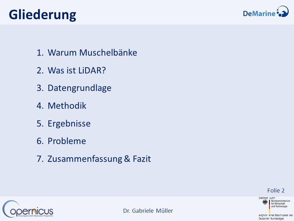 Gefördert durch: aufgrund eines Beschlusses des Deutschen Bundestages Dr. Gabriele Müller Folie 2 1.Warum Muschelbänke 2.Was ist LiDAR? 3.Datengrundla