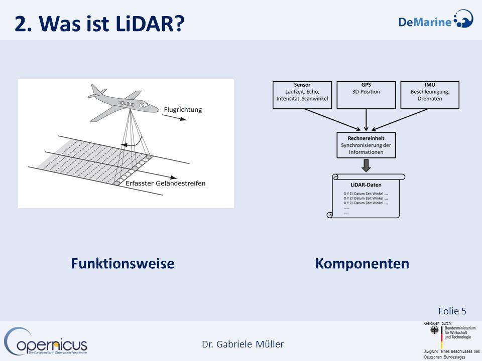 Gefördert durch: aufgrund eines Beschlusses des Deutschen Bundestages Dr. Gabriele Müller Folie 5 2. Was ist LiDAR? Funktionsweise Komponenten
