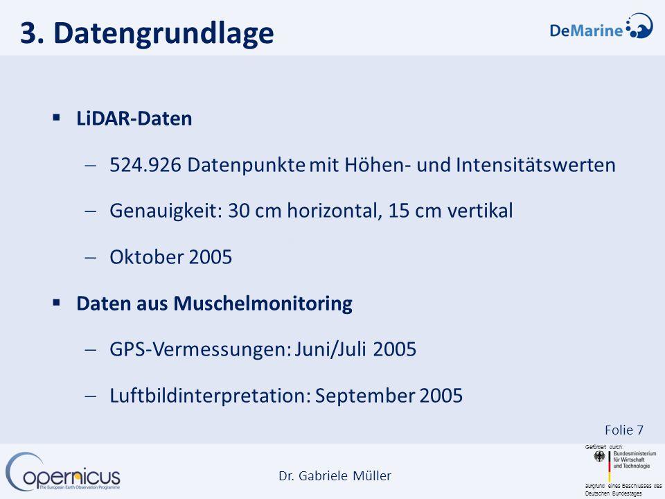 Gefördert durch: aufgrund eines Beschlusses des Deutschen Bundestages Dr. Gabriele Müller Folie 7 3. Datengrundlage LiDAR-Daten 524.926 Datenpunkte mi