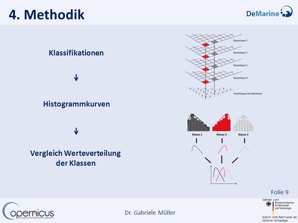 Gefördert durch: aufgrund eines Beschlusses des Deutschen Bundestages Dr. Gabriele Müller Folie 9 4. Methodik Klassifikationen Histogrammkurven Vergle