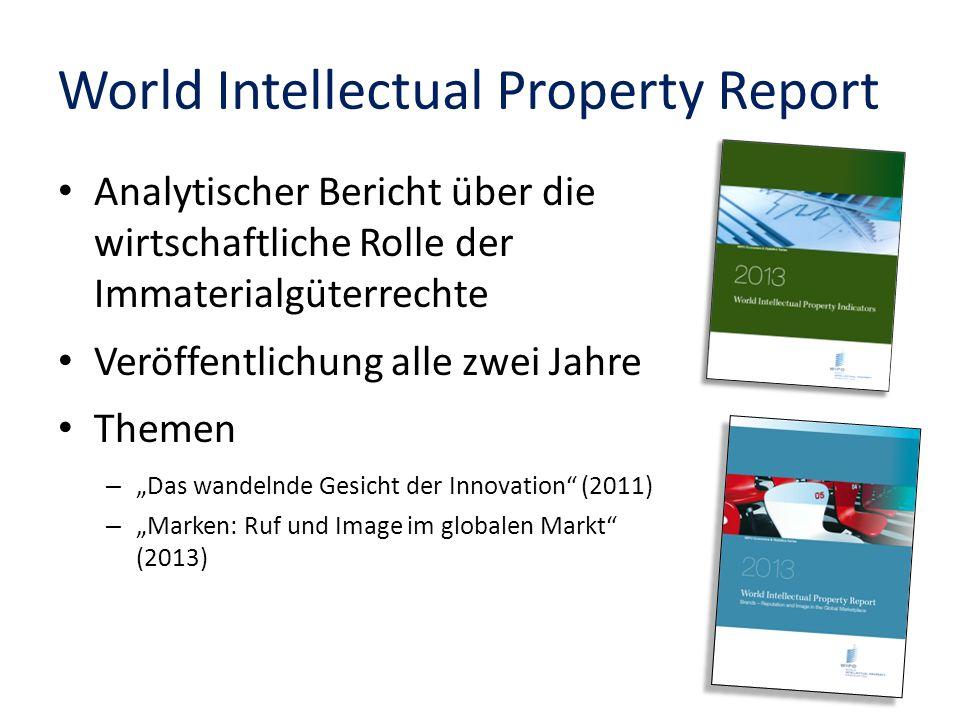 World Intellectual Property Report Analytischer Bericht über die wirtschaftliche Rolle der Immaterialgüterrechte Veröffentlichung alle zwei Jahre Them