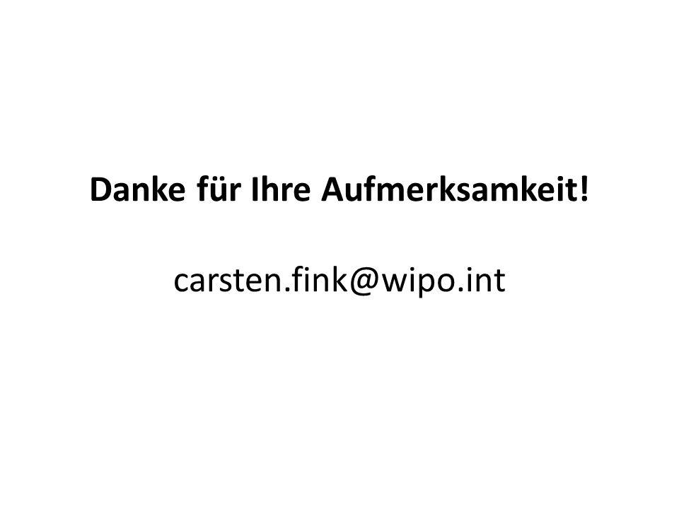 Danke für Ihre Aufmerksamkeit! carsten.fink@wipo.int