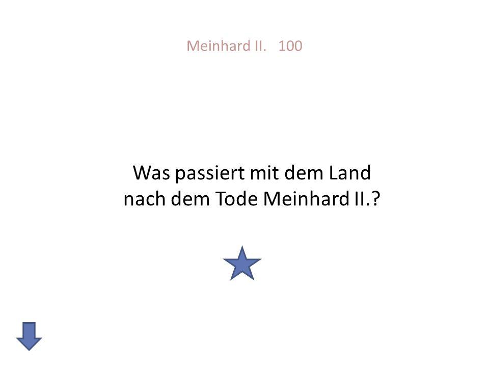 Meinhard II. 100 Was passiert mit dem Land nach dem Tode Meinhard II.?