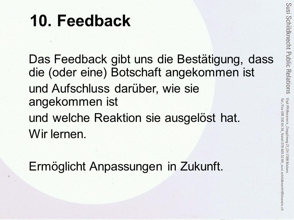 10. Feedback Das Feedback gibt uns die Bestätigung, dass die (oder eine) Botschaft angekommen ist und Aufschluss darüber, wie sie angekommen ist und w