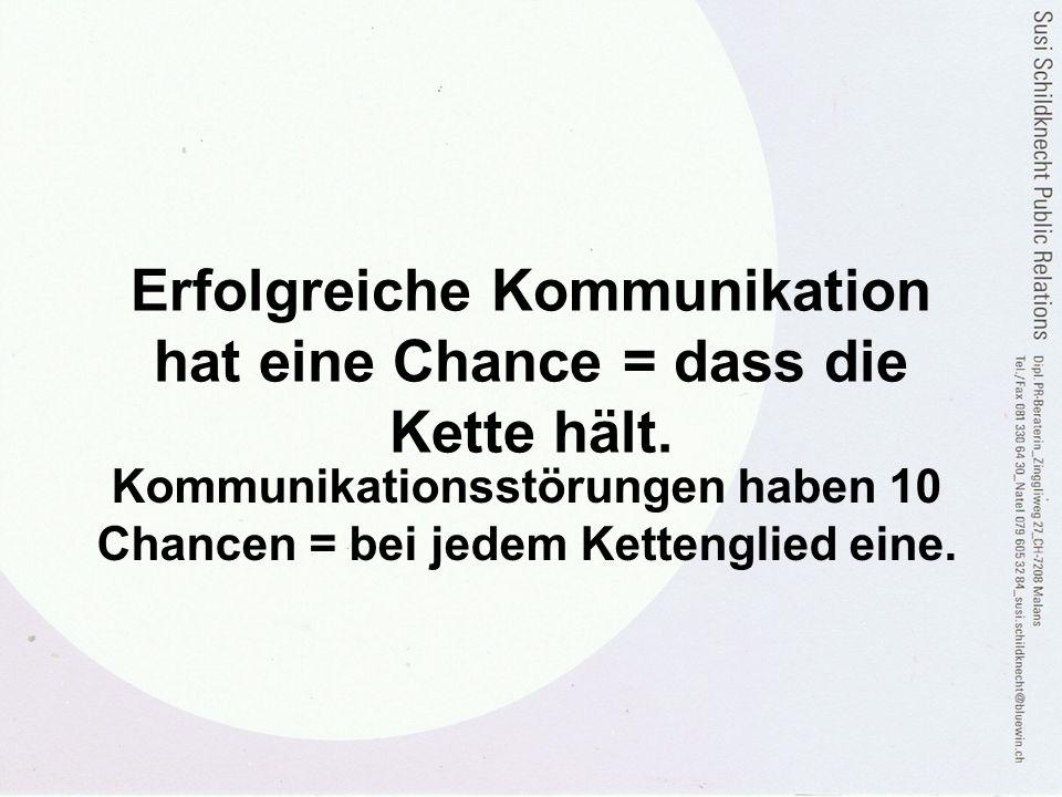 Erfolgreiche Kommunikation hat eine Chance = dass die Kette hält. Kommunikationsstörungen haben 10 Chancen = bei jedem Kettenglied eine.