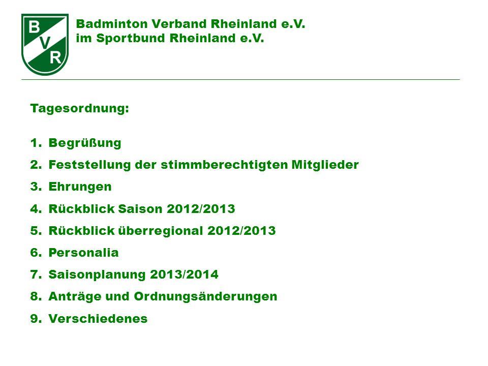 Badminton Verband Rheinland e.V. im Sportbund Rheinland e.V. Tagesordnung: 1.Begrüßung 2.Feststellung der stimmberechtigten Mitglieder 3.Ehrungen 4.Rü