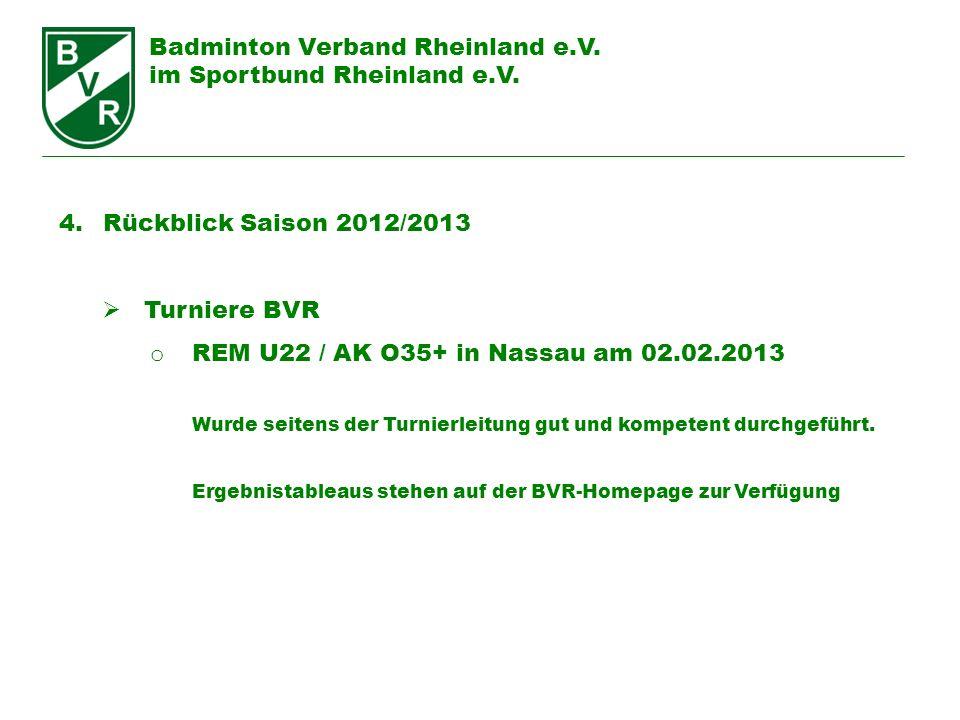 Badminton Verband Rheinland e.V. im Sportbund Rheinland e.V. 4. Rückblick Saison 2012/2013 Turniere BVR o REM U22 / AK O35+ in Nassau am 02.02.2013 Wu
