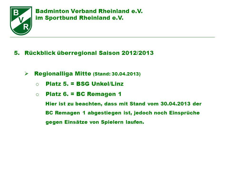 Badminton Verband Rheinland e.V. im Sportbund Rheinland e.V. 5. Rückblick überregional Saison 2012/2013 Regionalliga Mitte (Stand: 30.04.2013) o Platz