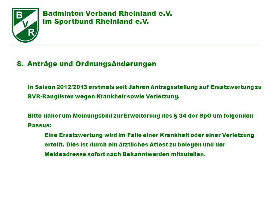 Badminton Verband Rheinland e.V. im Sportbund Rheinland e.V. 8.Anträge und Ordnungsänderungen In Saison 2012/2013 erstmals seit Jahren Antragsstellung