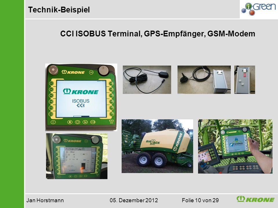 Technik-Beispiel Jan Horstmann 05. Dezember 2012 Folie 10 von 29 CCI ISOBUS Terminal, GPS-Empfänger, GSM-Modem