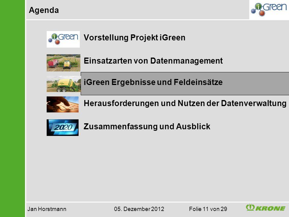 Agenda Jan Horstmann 05. Dezember 2012 Folie 11 von 29 Vorstellung Projekt iGreen Einsatzarten von Datenmanagement iGreen Ergebnisse und Feldeinsätze