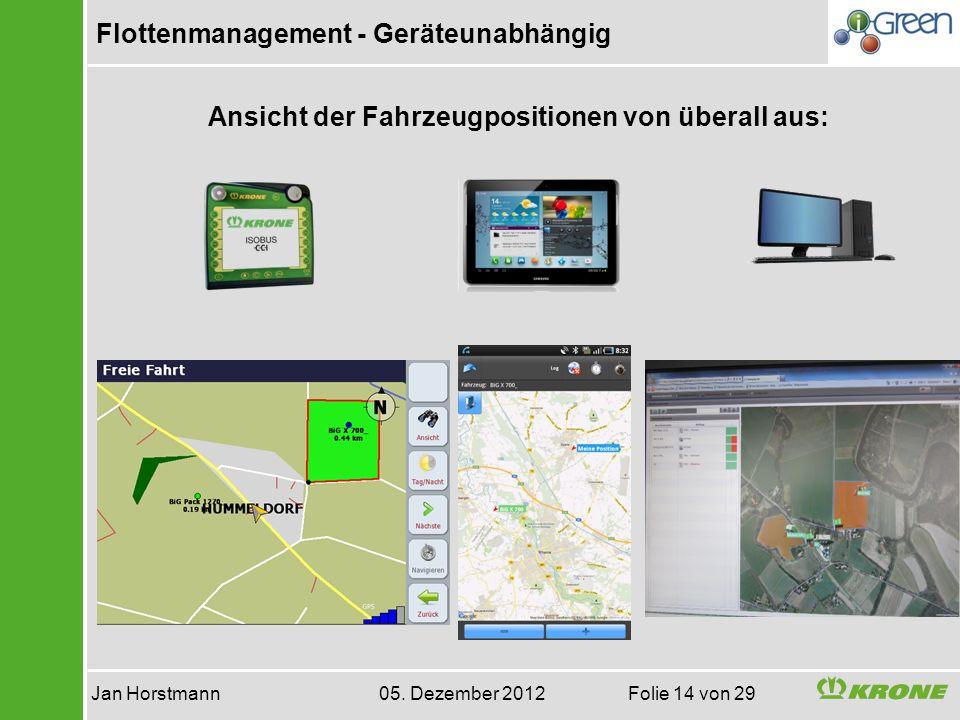 Flottenmanagement - Geräteunabhängig Jan Horstmann 05. Dezember 2012 Folie 14 von 29 Ansicht der Fahrzeugpositionen von überall aus:
