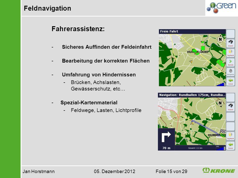Feldnavigation Jan Horstmann 05. Dezember 2012 Folie 15 von 29 Fahrerassistenz: - Sicheres Auffinden der Feldeinfahrt - Bearbeitung der korrekten Fläc