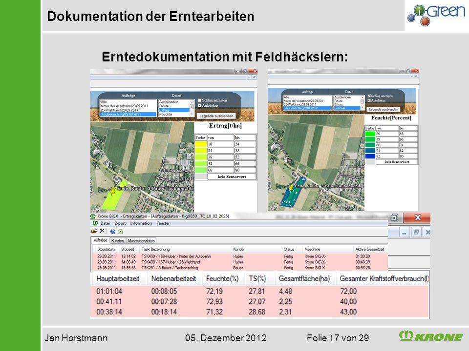 Dokumentation der Erntearbeiten Jan Horstmann 05. Dezember 2012 Folie 17 von 29 Erntedokumentation mit Feldhäckslern: