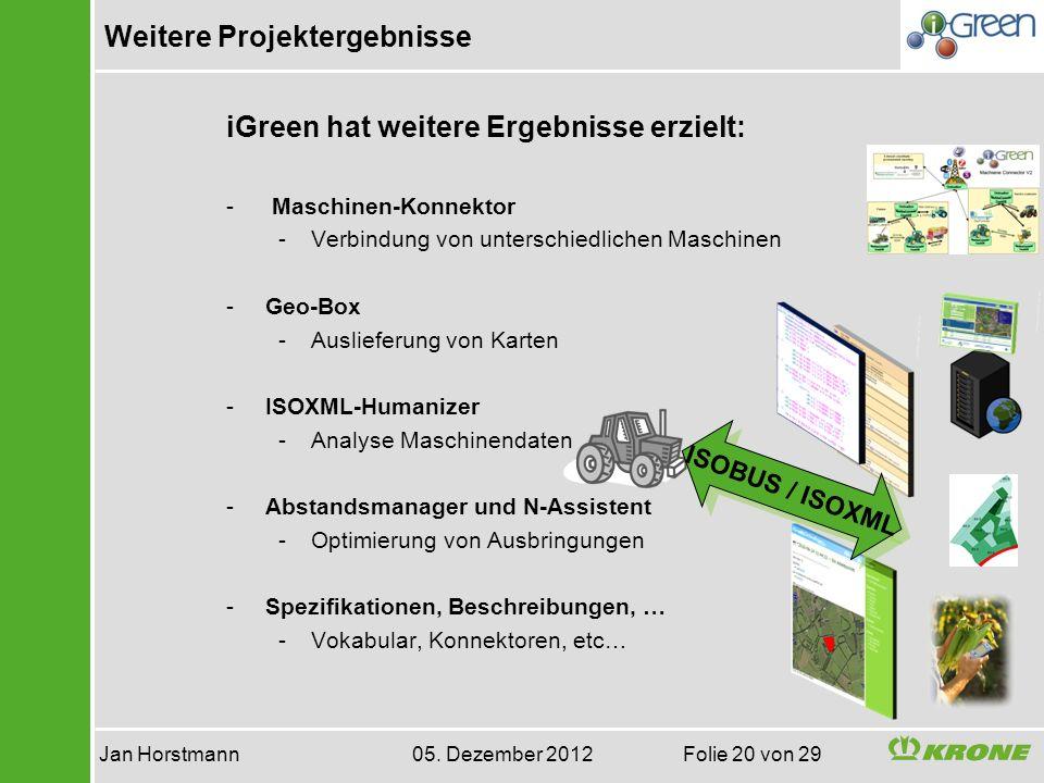 Weitere Projektergebnisse Jan Horstmann 05. Dezember 2012 Folie 20 von 29 iGreen hat weitere Ergebnisse erzielt: - Maschinen-Konnektor -Verbindung von