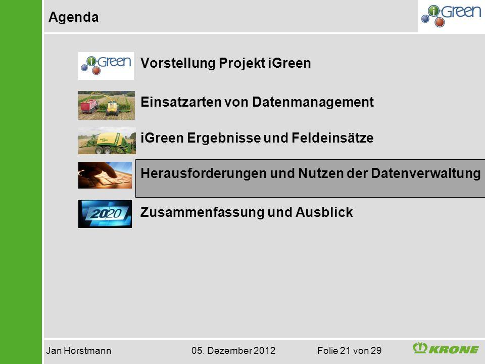 Agenda Jan Horstmann 05. Dezember 2012 Folie 21 von 29 Vorstellung Projekt iGreen Einsatzarten von Datenmanagement iGreen Ergebnisse und Feldeinsätze