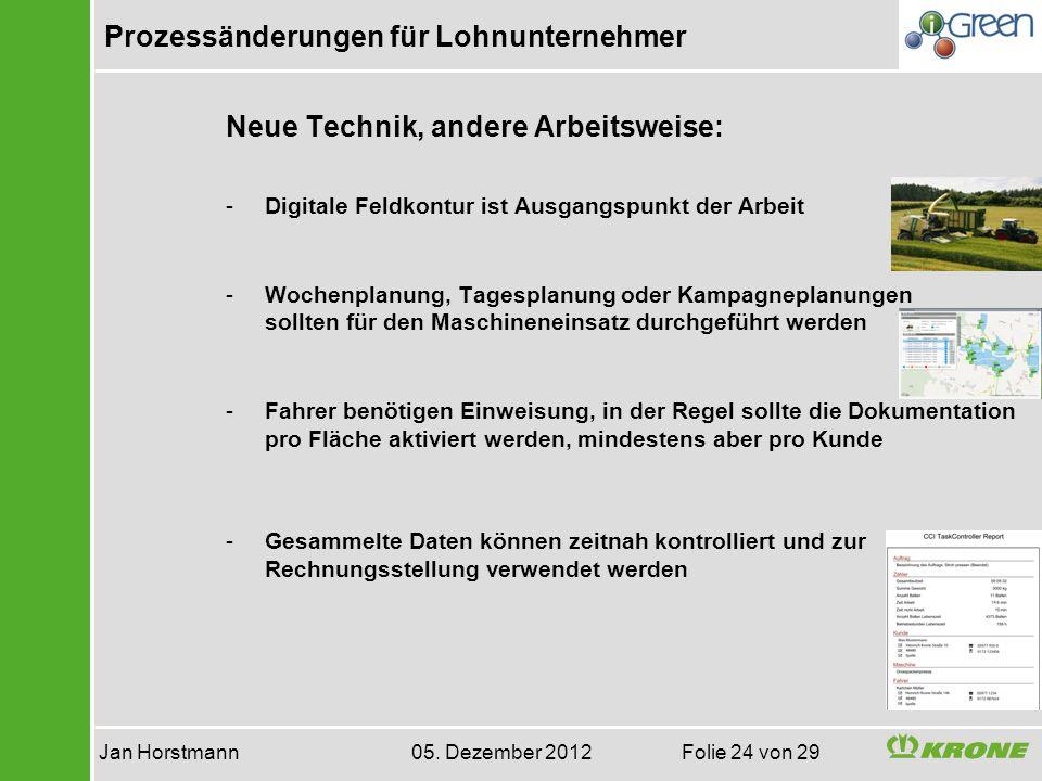Prozessänderungen für Lohnunternehmer Jan Horstmann 05. Dezember 2012 Folie 24 von 29 Neue Technik, andere Arbeitsweise: -Digitale Feldkontur ist Ausg
