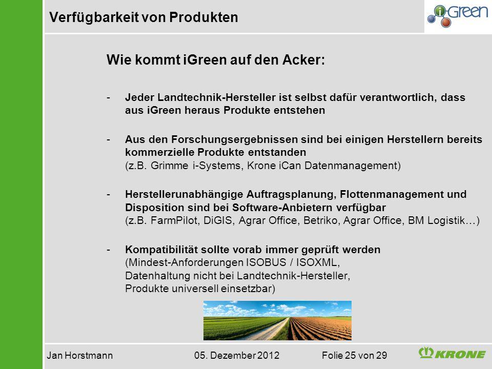 Verfügbarkeit von Produkten Jan Horstmann 05. Dezember 2012 Folie 25 von 29 Wie kommt iGreen auf den Acker: -Jeder Landtechnik-Hersteller ist selbst d