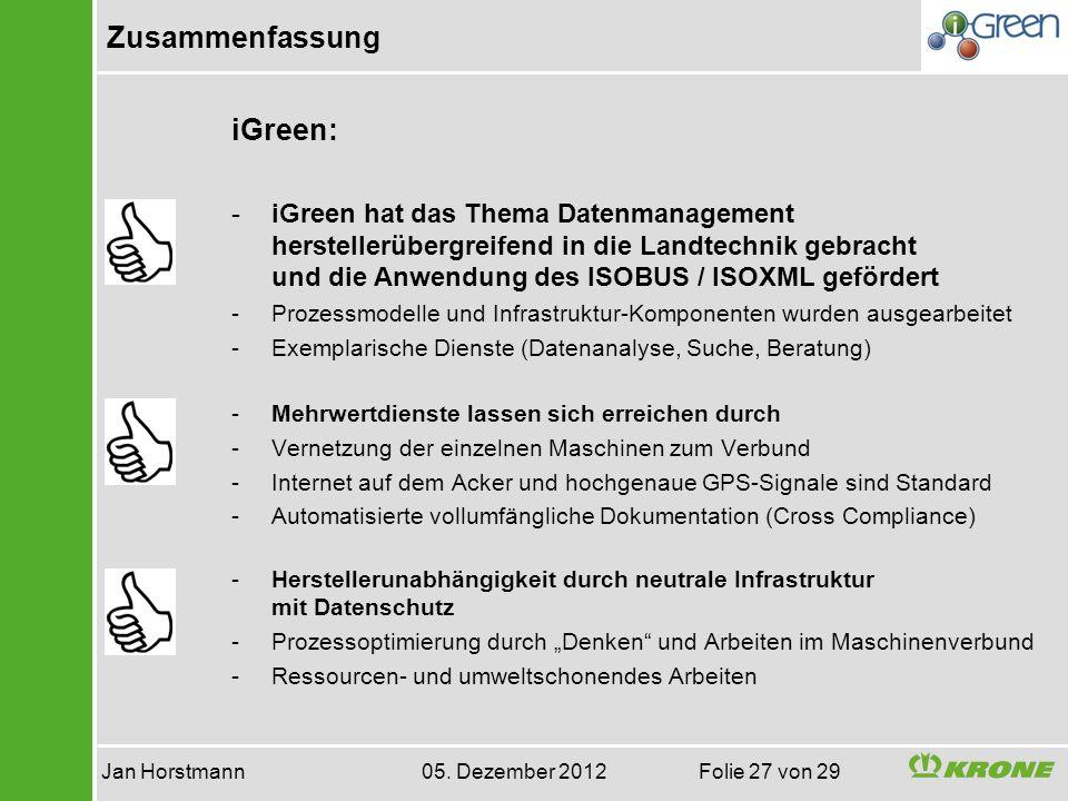 Zusammenfassung Jan Horstmann 05. Dezember 2012 Folie 27 von 29 iGreen: -iGreen hat das Thema Datenmanagement herstellerübergreifend in die Landtechni