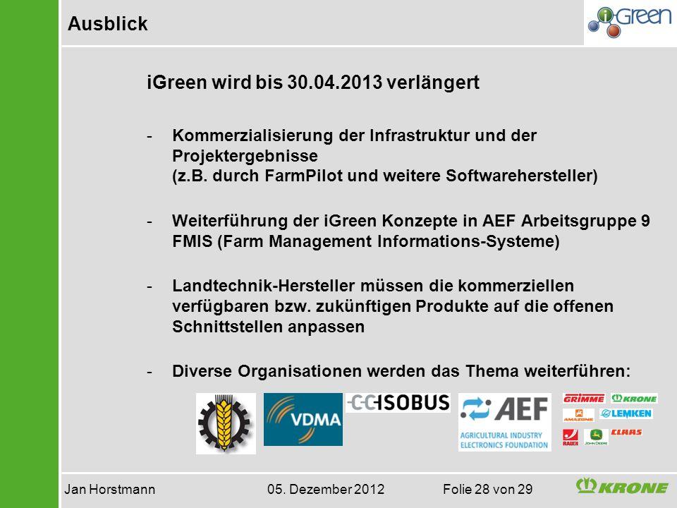 Ausblick Jan Horstmann 05. Dezember 2012 Folie 28 von 29 iGreen wird bis 30.04.2013 verlängert -Kommerzialisierung der Infrastruktur und der Projekter