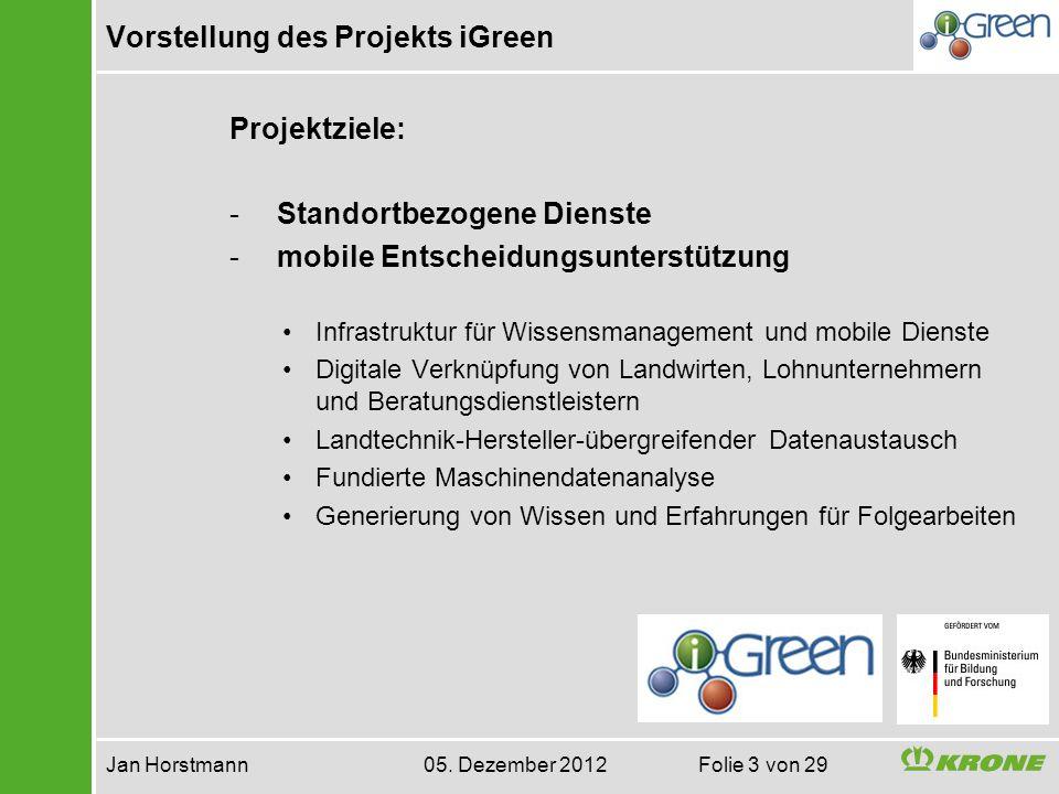 Vorstellung des Projekts iGreen Jan Horstmann 05. Dezember 2012 Folie 3 von 29 Projektziele: - Standortbezogene Dienste - mobile Entscheidungsunterstü
