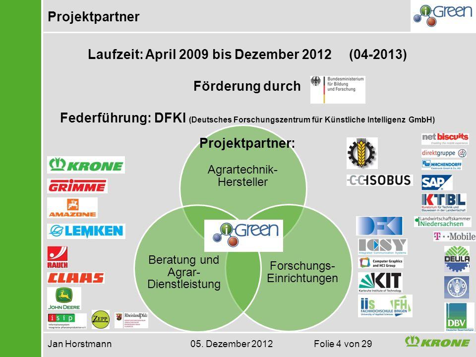 Projektpartner Jan Horstmann 05. Dezember 2012 Folie 4 von 29 Agrartechnik- Hersteller Forschungs- Einrichtungen Beratung und Agrar- Dienstleistung La
