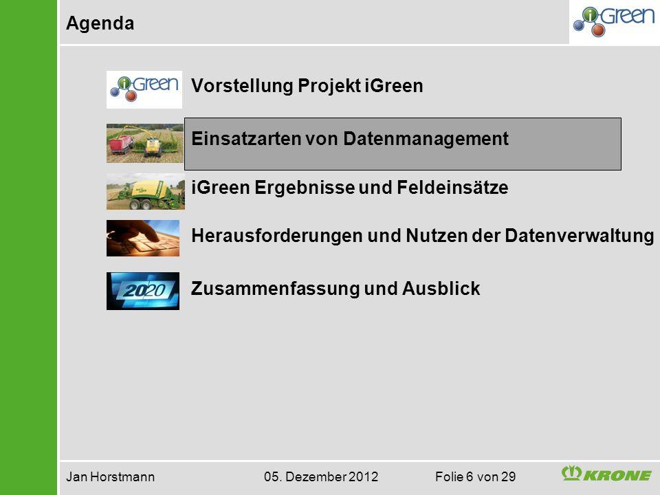 Agenda Jan Horstmann 05. Dezember 2012 Folie 6 von 29 Vorstellung Projekt iGreen Einsatzarten von Datenmanagement iGreen Ergebnisse und Feldeinsätze H