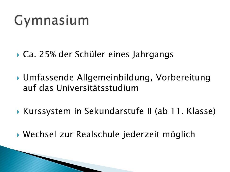 Ca. 25% der Schüler eines Jahrgangs Umfassende Allgemeinbildung, Vorbereitung auf das Universitätsstudium Kurssystem in Sekundarstufe II (ab 11. Klass