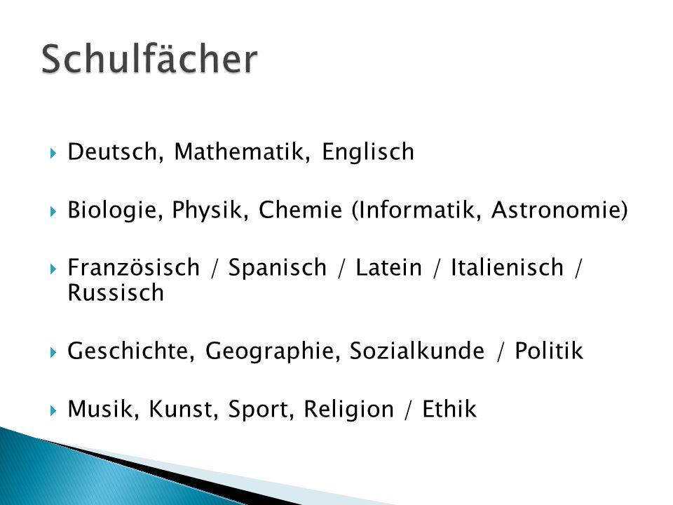 Deutsch, Mathematik, Englisch Biologie, Physik, Chemie (Informatik, Astronomie) Französisch / Spanisch / Latein / Italienisch / Russisch Geschichte, G