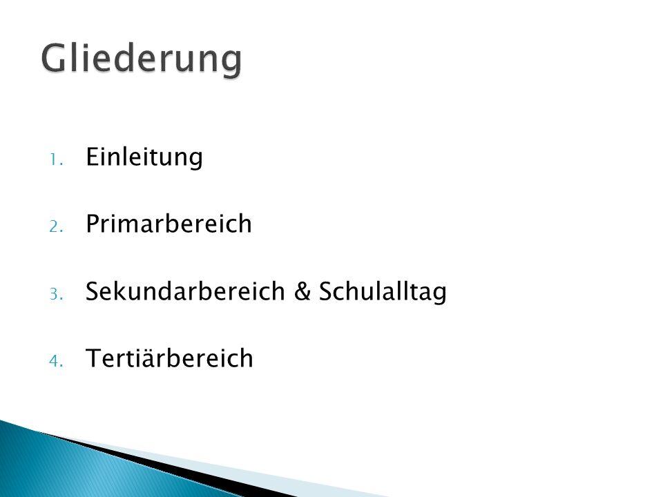 1. Einleitung 2. Primarbereich 3. Sekundarbereich & Schulalltag 4. Tertiärbereich