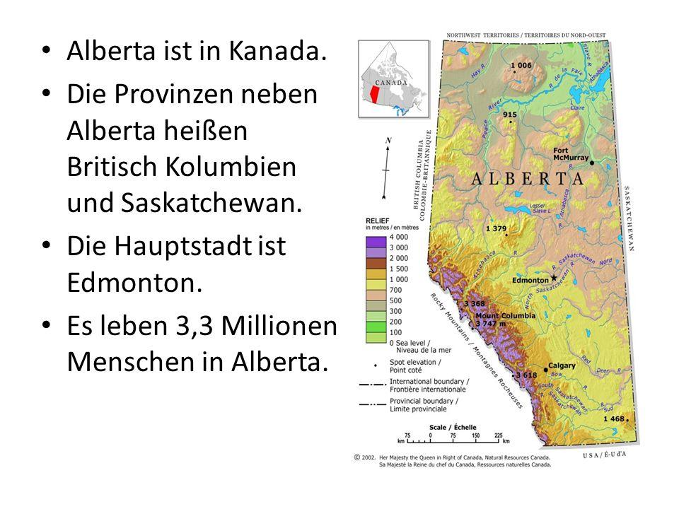 Alberta ist in Kanada. Die Provinzen neben Alberta heißen Britisch Kolumbien und Saskatchewan.