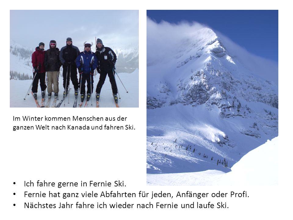Ich fahre gerne in Fernie Ski. Fernie hat ganz viele Abfahrten für jeden, Anfänger oder Profi.