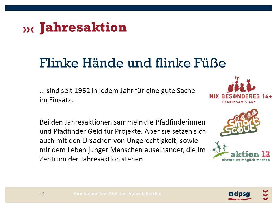 Jahresaktion Hier kommt der Titel der Präsentation hin14 Flinke Hände und flinke Füße … sind seit 1962 in jedem Jahr für eine gute Sache im Einsatz. B