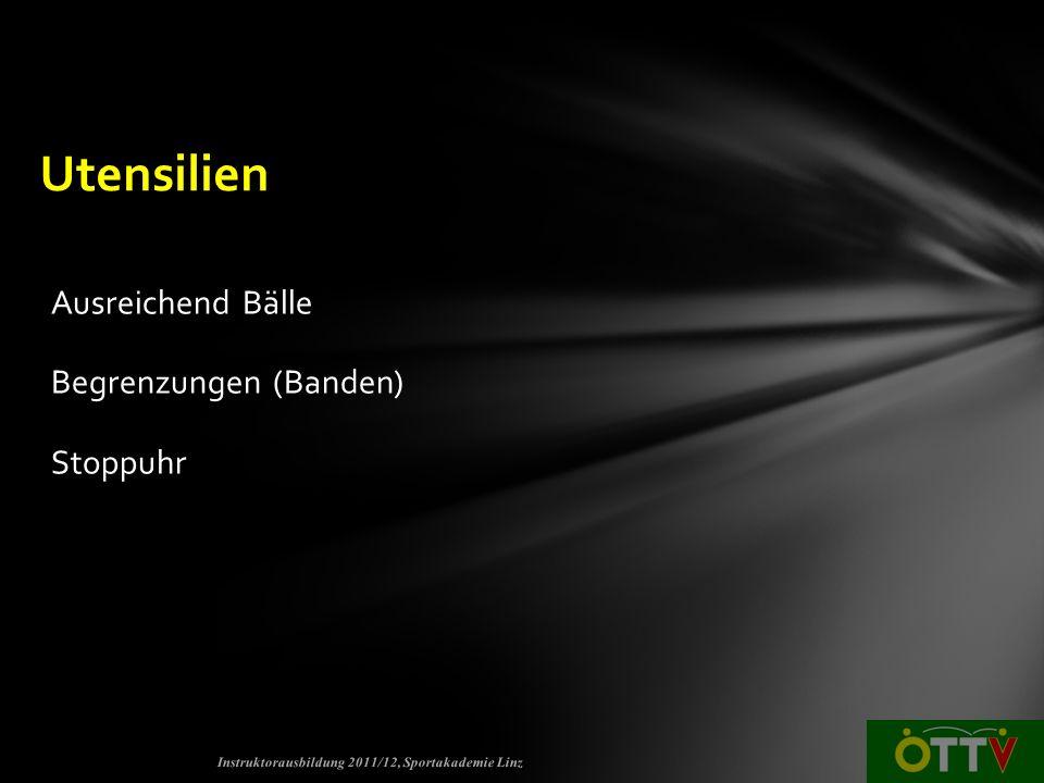 Ausreichend Bälle Begrenzungen (Banden) Stoppuhr Instruktorausbildung 2011/12, Sportakademie Linz Utensilien