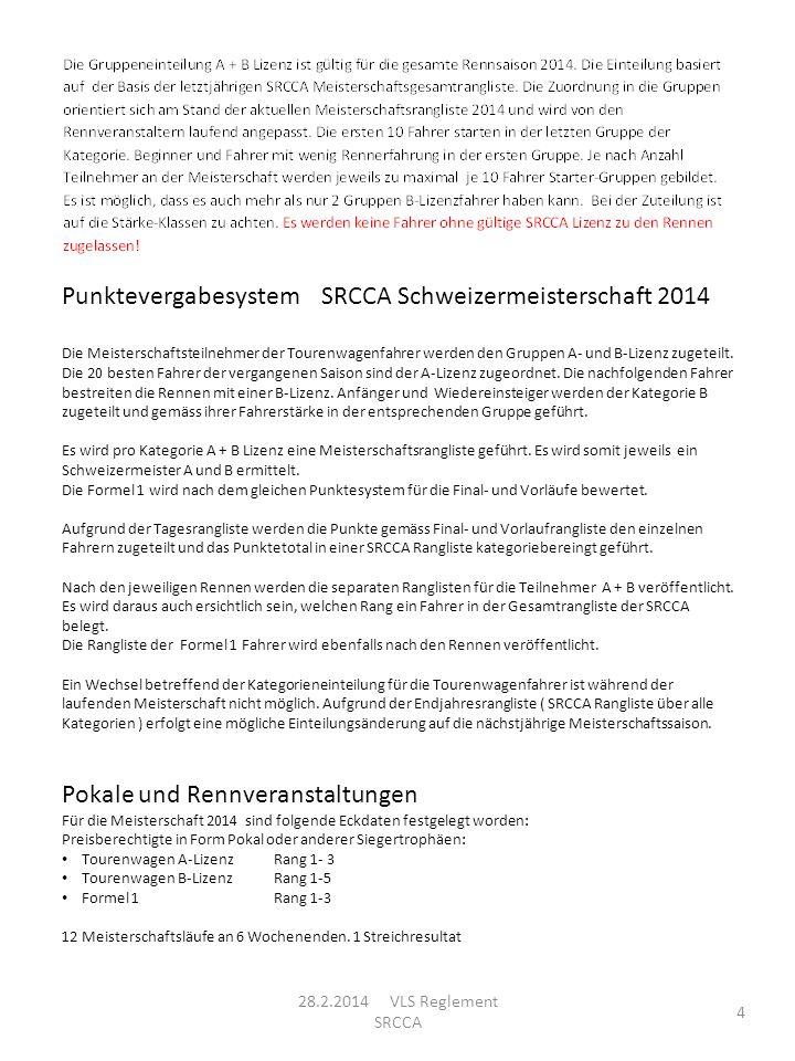 4 Punktevergabesystem SRCCA Schweizermeisterschaft 2014 Die Meisterschaftsteilnehmer der Tourenwagenfahrer werden den Gruppen A- und B-Lizenz zugeteil